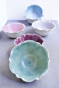Lee Wolfe Pottery — Ceramic Flower Bowls 2 cup stackable