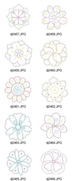 New Ideas Flowers Pattern Drawing Quilts Applique Patterns, Flower Patterns, Beading Patterns, Flower Designs, Beaded Embroidery, Embroidery Stitches, Hand Embroidery, Embroidery Designs, Flower Embroidery