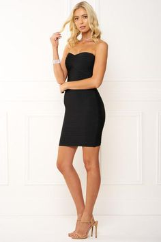 Honey Couture Black Strapless Bandage Dress