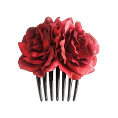 Silk Red Rose Flower Hair Comb Wedding Bridal by Bonitagirlshop We... via Polyvore featuring accessories, hair accessories, red rose hair accessories, red hair accessories, bridal comb, bridal flower hair accessories and bride hair comb