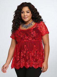 Lace Babydoll Top, RED