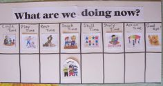 Preschool Playbook: Visual Schedule - horizontal layout (child moves their image across the bottom row)