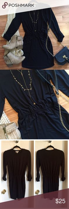 Black cinched waist dress Black 3/4 sleeve dress. Roll sleeve detail. Cinched waist, hip pockets. Super soft and comfy. Great to layer. Dress up or down. Great condition! Never worn! OPEN TO OFFERS! DISCOUNTS ON BUNDLES! Francesca's Collections Dresses