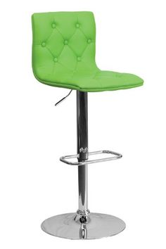Flash Furniture Contemporary Button Tufted Green Adjustable Height Vinyl Footrest Bar Stool With Chrome Base ObiwanSales http://www.amazon.com/dp/B00EQDELDE/ref=cm_sw_r_pi_dp_ZlP0tb1MBCEMEZ86  Comes in orange too.