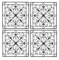 """Tuscan 24"""" Square Indoor Outdoor Wrought Iron Wall Grille Set"""