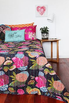 Black Kantha Quilt Blanket - Kantha Quilted Bedspreads, Bed Cover, Throws, Ralli, Gudari Handmade Tapestery REVERSIBLE Bedding throw on Etsy, $44.99