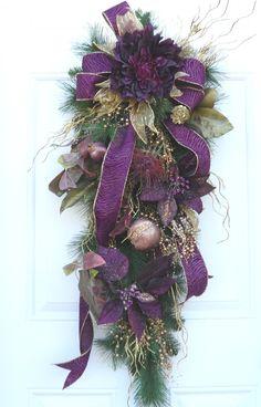 Christmas Winter Swag Burgundy Purple Gold via Etsy.