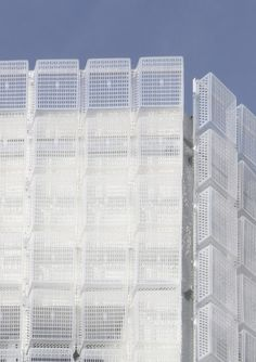 Image 6 of 11 from gallery of Semi-Transparent Plastic Baskets Form a Lightweight Facade. Courtesy of M. Box Architecture, Installation Architecture, Techno, Concrete Facade, Plastic Baskets, Building Facade, Co Working, Glass Boxes, Metal Buildings