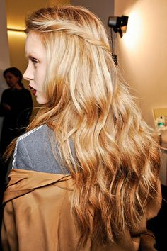 Long, tousled, golden, beachy waves. Face framing pieces twisted and pinned in back. | dailymakeover.com