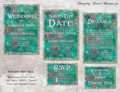 Wedding suite INSTANT DOWNLOAD   Editable Templates   Splatter Glitter   Wedding Invite, rsvp, save the date, invite  Glitter Collection PDF by AmazingGraceDesignZA on Etsy Printable Invitations, Printables, Glitter Wedding Invitations, Wedding Suite, Save The Date, Thank You Cards, Rsvp, Invite, Pdf