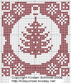 Ornament-Christmas Tree one colour card Cross Stitch Tree, Cross Stitch Charts, Cross Stitch Patterns, Noel Christmas, Christmas Tree Ornaments, Xmas, Cross Stitching, Cross Stitch Embroidery, Embroidery Patterns