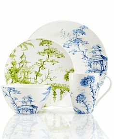 Scalamandre by Lenox, Toile Tale Sky Blue Collection - Fine China - Dining & Entertaining - Macy's