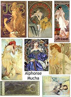 Labels Vintage Printed Alphonse Mucha Reproduction Cards Collage Sheet #108 Scrapbooking Decoupage