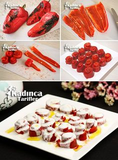 How to Make Roasted Red Pepper Salad with Yogurt? - Womanly Recipes - Delicious, Practical and Delicious Food Recipes Site - Roasted Red Pepper Salad with Yogurt - Crab Stuffed Avocado, Pepper Recipes, Cottage Cheese Salad, Salad Dishes, Appetizer Salads, Tasty, Yummy Food, Roasted Red Peppers, Gastronomia
