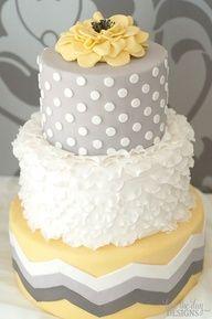 Gray and yellow cake design! Pretty Cakes, Cute Cakes, Beautiful Cakes, Amazing Cakes, Beautiful Boys, Absolutely Gorgeous, Chevron Cakes, Polka Dot Cakes, Polka Dots