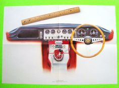 Set-of-4-CLASSIC-JAGUAR-DASHBOARD-COLOR-ART-PRINTS-Steve-Fermon-XK-120-XKE-etc