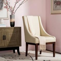 Safavieh En Vogue Dining Soho Creme Leather Arm Chair