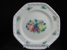 Avon Sweet Country Harvest Octagonal Dinner Plate Pink Trim by RuthiesCollectables on Etsy