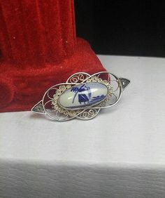 Vintage Sterling Silver Porcelain Medallion DUTCH DELFT Filigree Windmill Brooch #Delft
