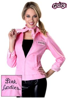 Relive your high school days in this Authentic Grease Pink Ladies Jacket. The 4 interchangeable nametags let you choose which of the Pink Ladies to be: Rizzo, Frenchy, Jan or Marty. It's just what you need to snag a date with one of the T-Birds! Grease Halloween Costumes, Couple Halloween Costumes For Adults, Costumes For Women, Teen Costumes, Halloween Ideas, Woman Costumes, Couple Costumes, Pirate Costumes, Halloween 2015