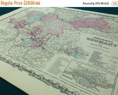 Small Washington Map Of Washington State Antique Wall Art Print - Old state maps for sale