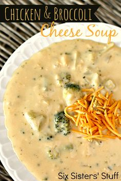 Chicken and Broccoli Cheese Soup on SixSistersStuff.com - made from scratch! So cheesy and delicious!