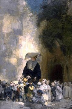 Sister with orphans in front of a church; artist: Jules Alex Patrouillard, end of 19th century; internet image, may be copyrighted