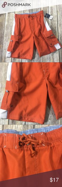 Sonoma Men's Swim Shorts Orange with white men's swim shorts. Elastic waist band. Mesh lining. 2 pockets with Velcro. Size medium. New with tags. Sonoma Swim Swim Trunks