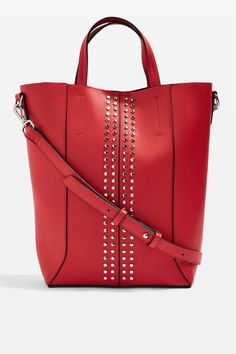 Alexander Wang -inspired Red Tote Bag with Silver Studs // Gifts under $25