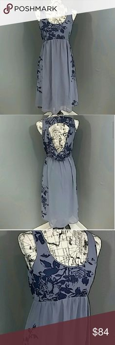 "Pins And Needles Dress Urban Outfitters NWOT Reasonable offers always considered on items over $15. Bundle discount available! No trades.  New Without tags!! Adorable grey-blue dress with navy blue floral print. Picture frame open back, side zipper, lined skirt with flowy sheer overlay. Slight high-low skirt. Bust 17"" flat, 38"" front length, 41"" back length.  M4RLM715584 Urban Outfitters Dresses Midi"