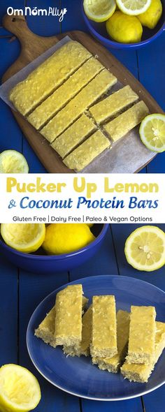 Pucker Up Lemon Coconut Protein Bars , Pucker Up Lemon Coconut Protein Bars Pucker Up Lemon Protein Bars. Need a healthy snack recipe to take with you wherever you go? Try these lemon prote. Healthy Protein Snacks, Protein Desserts, Protein Bar Recipes, Protein Powder Recipes, Protein Foods, Healthy Treats, Healthy Desserts, Snack Recipes, Healthy Recipes