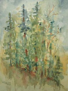 Original Watercolor landscape painting  Autumn Joy  by RPeppers, $45.00