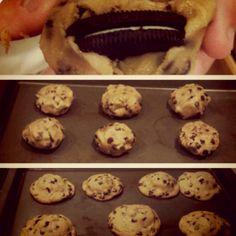 Oreo cookies inside of chocolate chip cookies. Heaven.