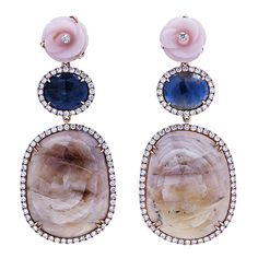 Hand Carved Pink Opal Roses, and Pink and Blue Sapphires... by SAMIRA®