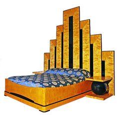 Art Deco Bed - Ziggurat Headboard - Birch with Black Lacquer Inlay
