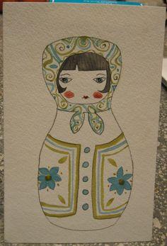 Russian Doll Watercolor