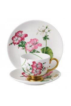 Floral Eden Footed Cup & Saucer Set by Wedgwood Tea Cup Set, Cup And Saucer Set, Tea Cup Saucer, Vintage Cups, Vintage Tea, Porcelain Dolls Value, Pink Geranium, Teapots And Cups, Teacups
