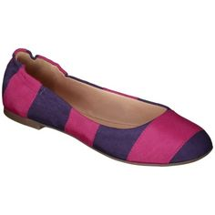 Women's Mossimo Supply Co. Ona Striped Scrunch Ballet Flat - Pink/Purple - these are calling my name for some reason