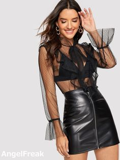 Shop Tie Neck Lace Trim Sheer Mesh Top Without Bra online. SHEIN offers Tie Neck Lace Trim Sheer Mesh Top Without Bra & more to fit your fashionable needs. Sheer Mesh Top, Plain Tops, Spring Shirts, Types Of Sleeves, Fashion News, Women's Fashion, Blouses For Women, Lace Trim, Bow Blouse