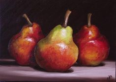 """Daily Paintworks - """"Three Red Williams Pears"""" by Jane Palmer"""