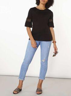 Womens Black Flutter Sleeve Top- Black
