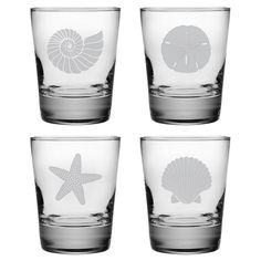 """Seashore Double Old Fashioned Glass (Set of 4) - """"Freshly Caught"""" sale... I'm strongly considering these, so cute!"""