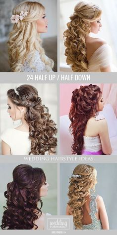 24 Stunning Half Up Half Down Wedding Hairstyles These elegant curly half up\/half down hairstyles look amazing with hair accessories or on their own. See more: #wedding #bride #weddinghairstyles