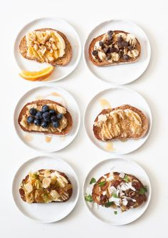 6 Banana Toast Flavors (mash 1/2 of a banana on toast with a fork and add toppings)