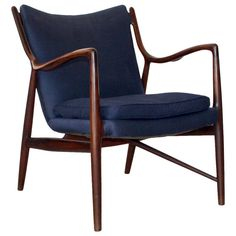 Finn Juhl NV45 Chair Made and Labeled by Niels Vodder, circa 1945-1955 | From a unique collection of antique and modern lounge chairs at https://www.1stdibs.com/furniture/seating/lounge-chairs/