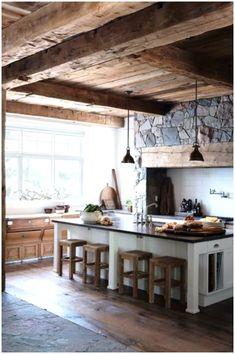 Rustic Kitchen Design, Farmhouse Style Kitchen, Farmhouse Interior, Modern Farmhouse Kitchens, Home Decor Kitchen, Country Kitchen, Kitchen Furniture, Kitchen Interior, New Kitchen