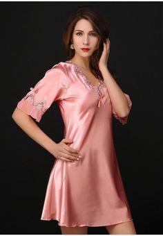 Victoria Sexy Silk Night Dress Lace Plus Size Nightgown Pijama Short Sleeve Pyjamas Women Nightwear Sleepwear Nuisette Femme