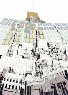 """Part of Luke Pearson's bold triptych, """"exploring the temporality, history and legacy of the United Nations building as an architectural manifestation of bureaucratic intricacies of the institution itself. Revit Architecture, Architecture Collage, Architecture Visualization, Architecture Graphics, Gothic Architecture, Architecture Drawings, Model Sketch, Photoshop, Triptych"""