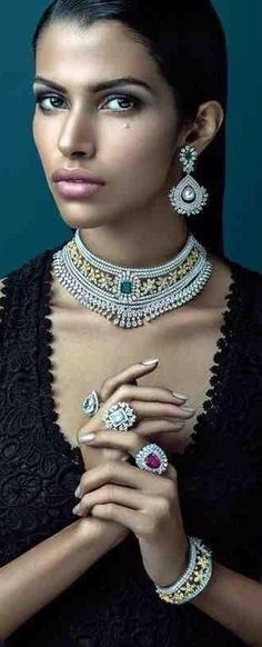 Indian bridal jewellery. earrings, necklace, rings and bracelet or kangan