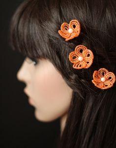 Tangerine Tango  - French Beaded Flower Hair Pins. $18,00, via Etsy.